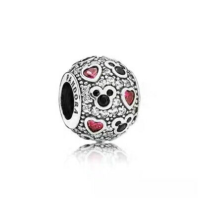 Silver Sparkle Hearts -  Authentic Pandora Silver Disney Sparkling Mickey Hearts CZ Charm 791457 #ew