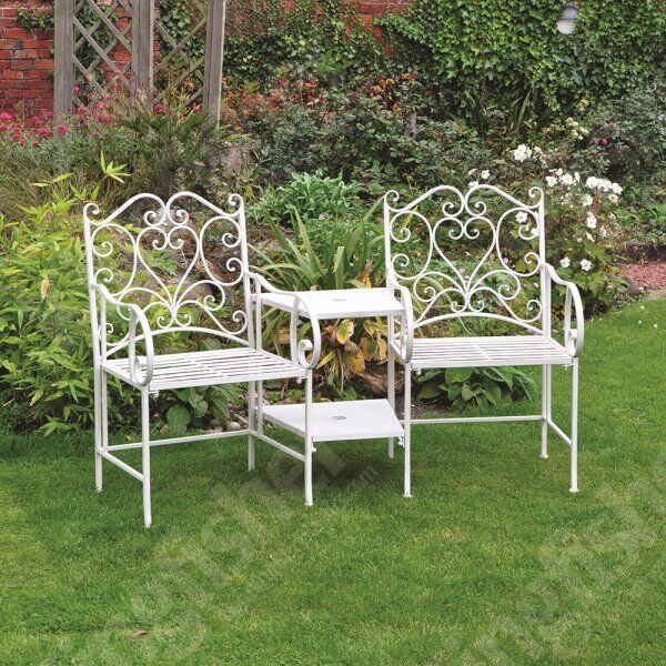 cream vintage wrought iron love seat furniture set for the garden or patio - Garden Furniture Eastbourne