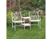 Cream Vintage Wrought Iron Love Seat Furniture Set for the Garden or Patio