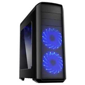 Boxed Blue LED Quad Core PC with 1TB HDD, WiFi and Windows 10 Pro 64bit