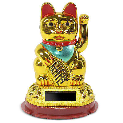 A Gold Beckoning Fortune Cat Japanese Oriental Solar Toy Home Decor US Seller (Oriental Decorations)