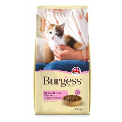 BURGESS KITTEN x 4 - (1.5kg) - Chicken Dry Biscuits Food Pet Pregnant Cat