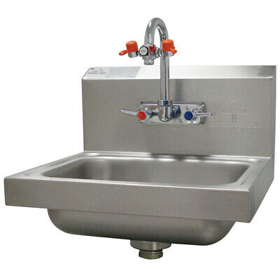 Used ADVANCE TABCO Hand Sink with Eye Wash,15-1/4 In. W, 7-PS-55, Silver (Advance Hand Sink)