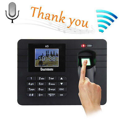 "A5 2.4"" TFT Fingerprint Time Clock Attendance Clock Employee Payroll Recorder US"