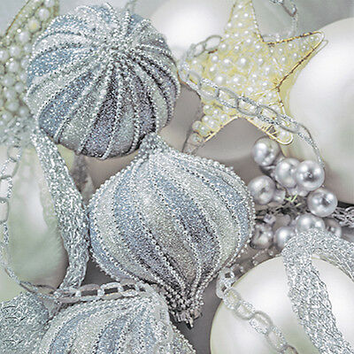 40 pcs Christmas Paper Luncheon Napkins PEARL SILVER Baubles Decorations](Christmas Paper Decorations)
