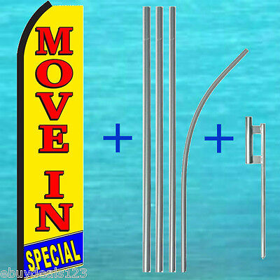 Move In Special Swooper Flag 15 Tall Pole Kit Flutter Feather Banner Sign 1973