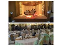 EVENT DECORATIONS. Throne sofa,Centrepiece, chair/table cover/sash, dinning, stage platform for hire