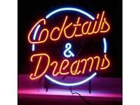 Cocktails & Dreams movie neon sign bar collectors