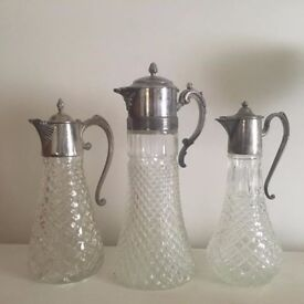 3 x Glass & Silver Plated Pitchers