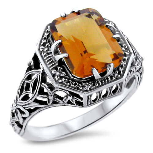 ART DECO ANTIQUE FILIGREE STYLE LAB CITRINE 925 STERLING SILVER RING SZ 9   #898