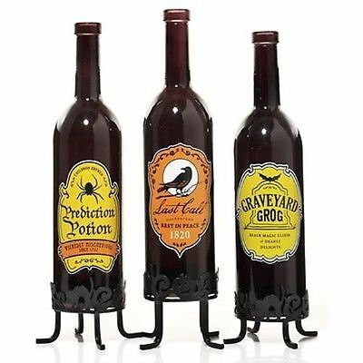 NEW~YANKEE CANDLE HALLOWEEN WINE BOTTLE TEALIGHT HOLDER~SET 3~POTION~SPIDER/CROW](Halloween Bottle Tealight Holder)
