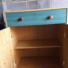 Two drawer cupboard pine effect. (Matching wardrobe available)