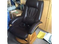 Dark brown reclining massage chair