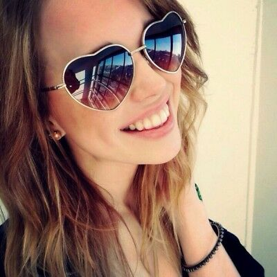Vintage Fashion Lolita Gold Heart Shaped Aviator Metal Frame Women Sunglasses (Heart Shaped Sunglasses Metal Frame)