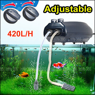 Aquarium Fish Tank Air Pump Adjustable Flow 420L/H 2 Outlets/2M Air Line 2 Stone