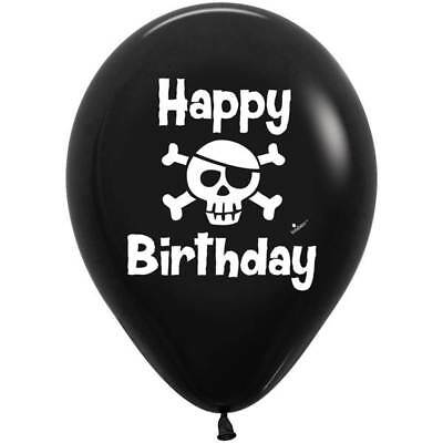 Happy Birthday Skulls (Happy Birthday Pirate Latex Balloons, Birthday Party Decor Skull Crossbones )
