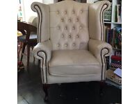 Faux leather armchair