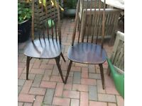 Two vintage Ercol dining chairs