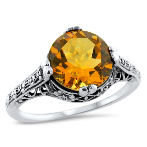 ANTIQUE FILIGREE STYLE GOLDEN LAB CITRINE 925 STERLING SILVER RING SZ 8.75  #645