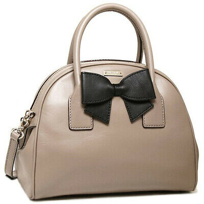 KATE SPADE Hanover Street Leather LORIN Satchel Handbag Warm Putty & Black • NWT