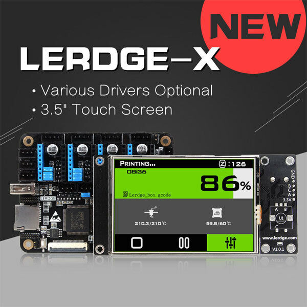 LERDGE-X 3D Printer Controller Board with 3.5″ Touch scree