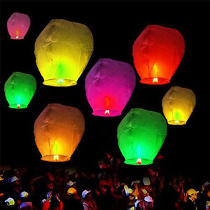 10x Chinese Sky Lanterns Floating Flying Paper Kongming Lantern Candle Wish Lamp