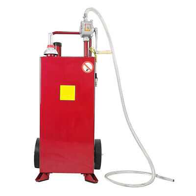 30 Gallon Gas Fuel Diesel Caddy Transfer Tank Container W Rotary Pump Dispenser