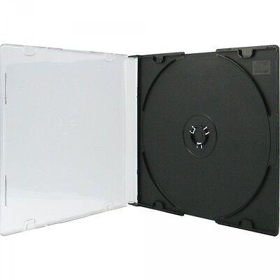 100 CD Hüllen 1er Slimcase 5,2 mm für je 1 BD / CD / DVD schwarz