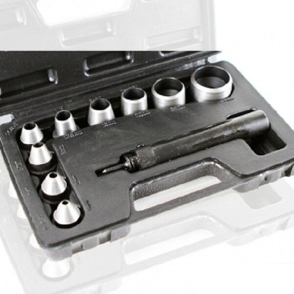 10pc Hollow Punch Set Leather Rubber Copper Gasket Tool Kit W Case