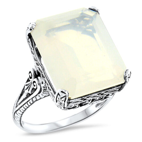 GENUINE 8 CARAT MOONSTONE 925 STERLING SILVER ANTIQUE STYLE RING SIZE 10    #935