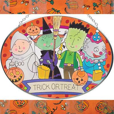 Trick or Treating Kids Halloween Art Glass Suncatcher by Joan Baker 7