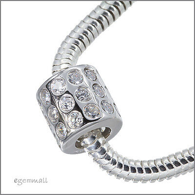 Fine Sterling Silver Clear CZ Tube Charm Bead 10mm Fit European Bracelet #51365
