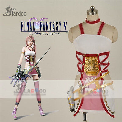 FINAL FANTASY XIII-2 Serah Farron Cosplay Costume White Dress Fighting Full (Final Fantasy Serah Kostüme)