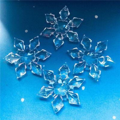 Acrylic Snowflakes (50pcs/Lot Acrylic Snowflake Beads Hanging Wedding Christmas Curtains Party)