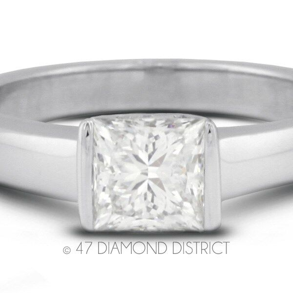 1.54ct. E-si2 Ex Princess Certify Diamond 950 Plt. Tension Engagement Ring 4.9gm