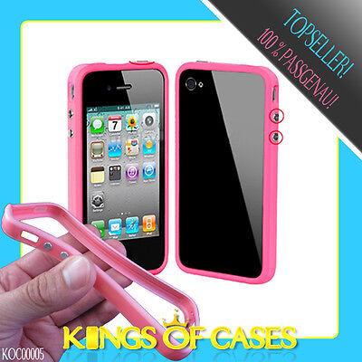Apple iPhone 4 4S TPU Handy Schale Bumper Schutz Hülle Cover Case in Pink ()