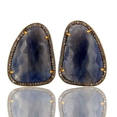 Pave Diamond And Blue Sapphire Stud Earrings 925 Silver Fashion Jewelry