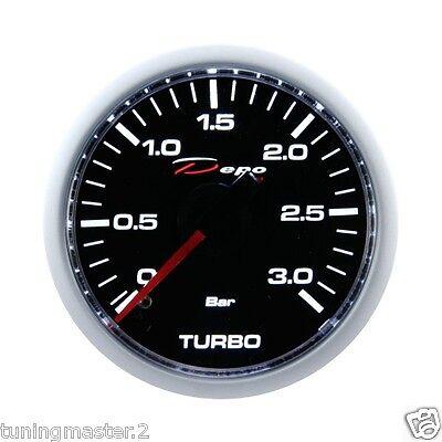 Manometro Strumento 52mm DEPO Pressione Turbo 0+3 BAR tdi Diesel Nero MECCANICO