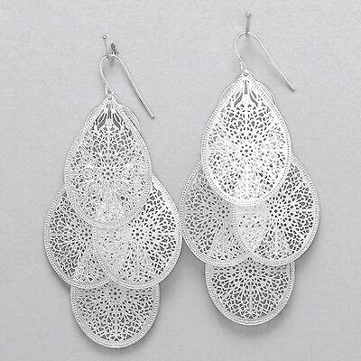 Filigree Hanging Earrings (Teardrop Earrings Cut Out Filigree SILVER 3