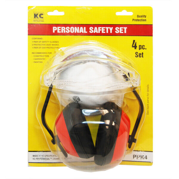 Kc Professional 4-Piece Personal Safety Set - Glasses, 2 Masks, Ear Protection