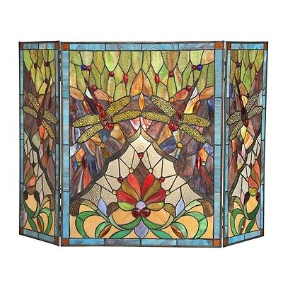 Copper Victorian Fireplace Screen - Fireplace Screen Tiffany Style Stained Glass Dragonfly Victorian Design 44 x 28