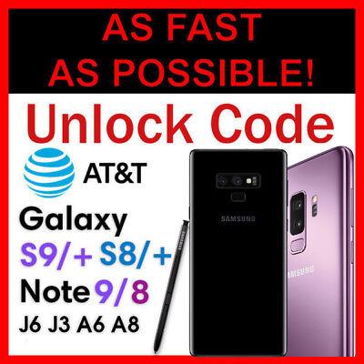 Unlock Code AT&T Galaxy Note 9 Galaxy S9 S9+ Plus Note 8 S8/+ S7 S6 J3 J6 A6 A8