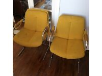 Pair Vintage 70s/80s office chrome framed office/lounge chairs