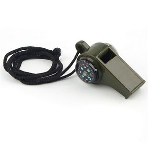 Emergency Survival Whistle with Built-in Compass & Thermometer