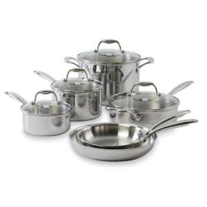 BNIB Kenmore 10 pc. Tri-Ply Stainless Steel Cookware Set