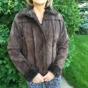 Chocolate Brown Suede Leather Jacket size S/M
