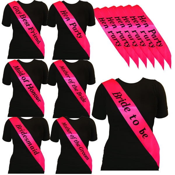 BULK BUY LOT *PINK W BLACK* HEN PARTY NIGHT DO BRIDE TO BE SASH GIRLS NIGHT OUT