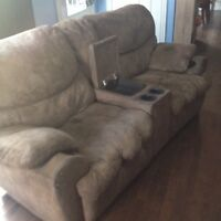 Reclining Love Seat with Cup Holders & Console