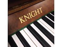 Knight upright piano - walnut satin case