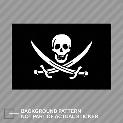 Jolly Roger Calico Jack Rackham Flag Sticker Decal Vinyl pirate (Jack Flag Stickers)